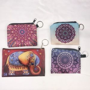 Accessories - 4 Boho Zip Pouches with Keyrings